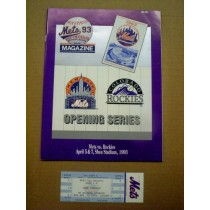 Colorado Rockies 1993 Opening Series Program and Ticket