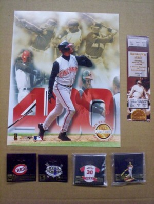 """Ken Griffey Jr. Full Game Ticket, 8x10"""" Photograph, and Pins (400th Home Run Game)"""