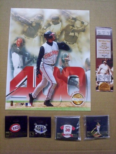 "Ken Griffey Jr. Full Game Ticket, 8x10"" Photograph, and Pins (400th Home Run Game)"