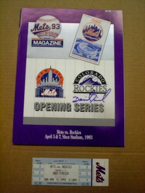 Colorado Rockies 1993 Opening Day Series Program and Ticket (Autographed by David Nied)